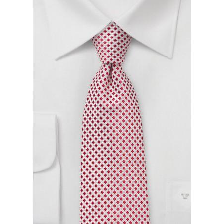 Micro Check Tie in Bright Red and White