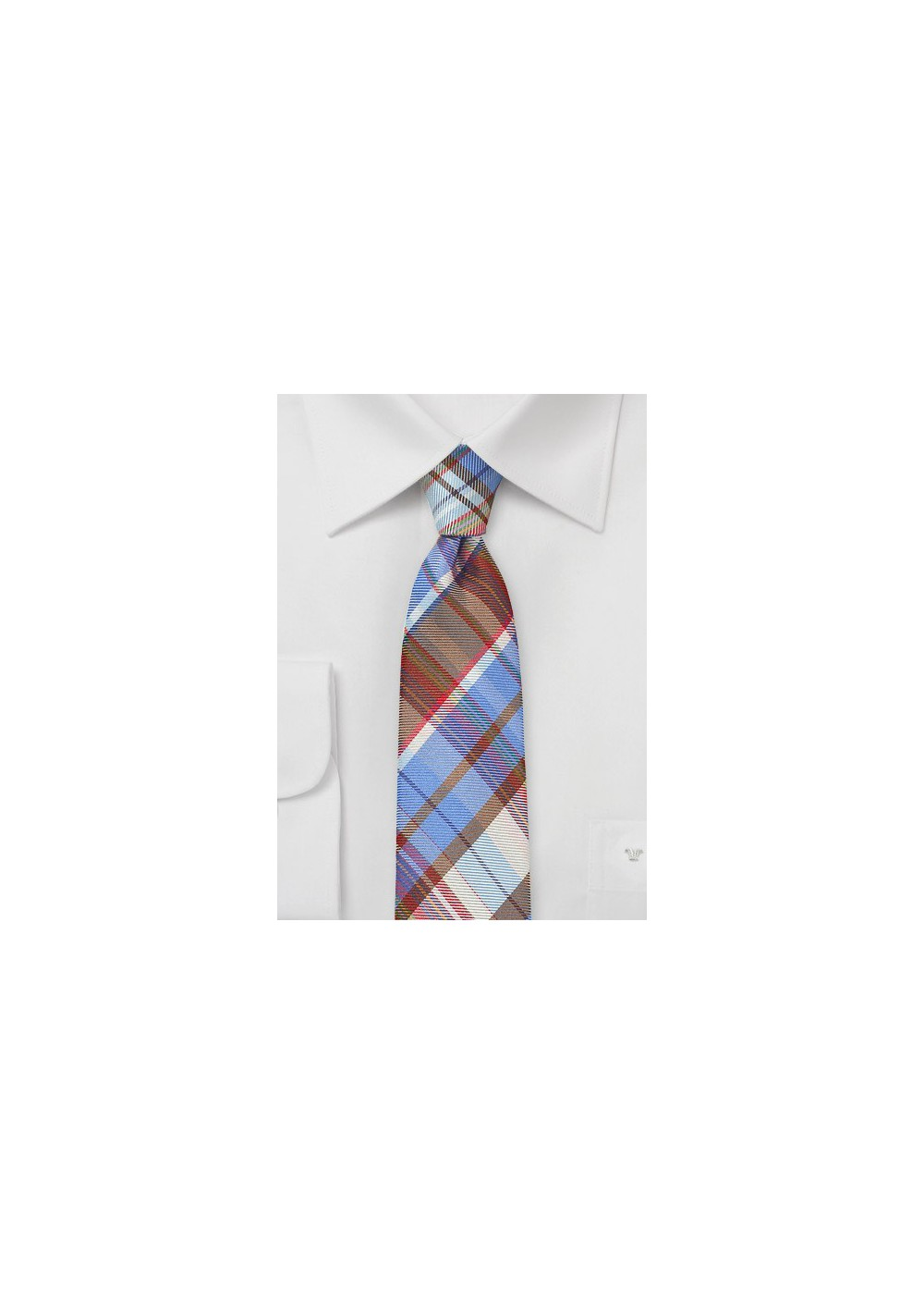 Slim Plaid Patterned Tie in Blues
