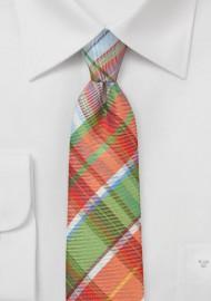 Slim Plaid Tie In Oranges and Greens
