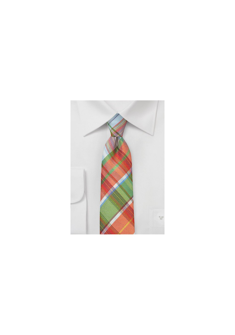 Slim Plaid Tie In Oranges and Greens