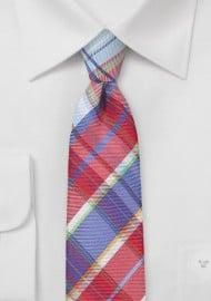 Designer Plaid Tie in Reds and Blues