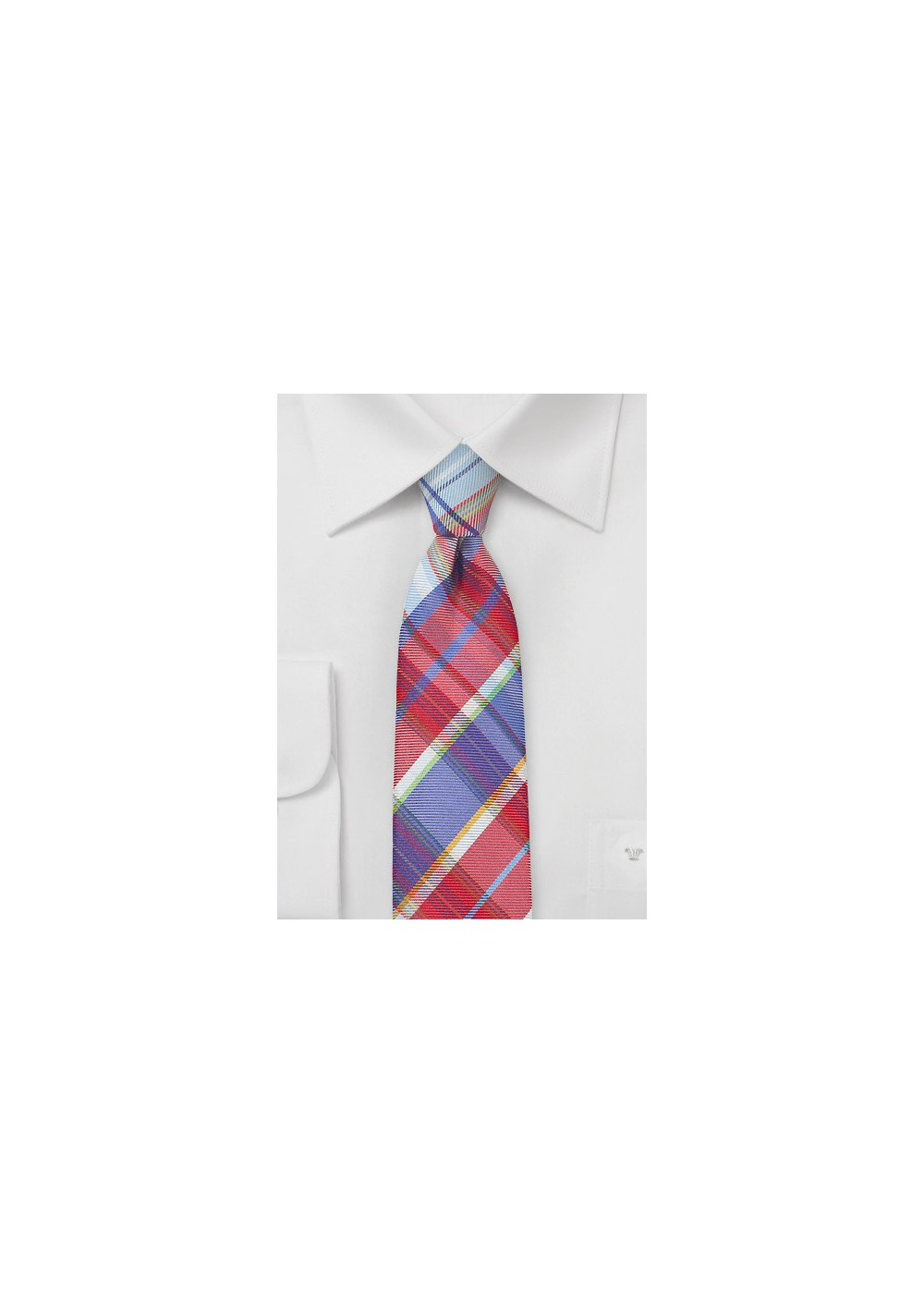 Designer Plaid Tie in Reds and Blues