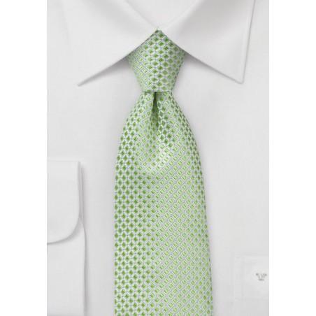 Elegant Pistachio Check Necktie in Pure Silk