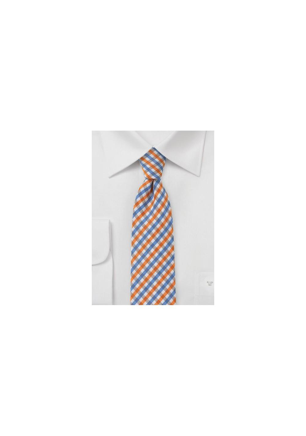 Slim Gingham Tie in Oranges and Blues