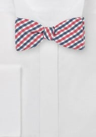 Gingham Bow Tie in Pinks and Blues