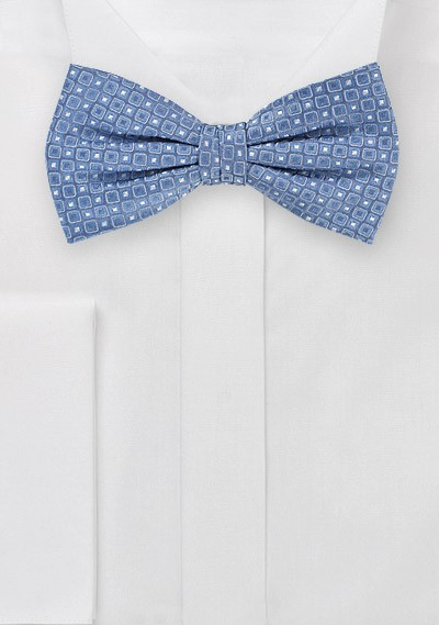 Pre-tied Bowtie in Indigo with Tiny Square Pattern