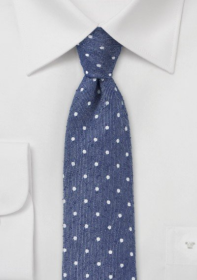 Textured Polka Dot Skinny Tie in Navy