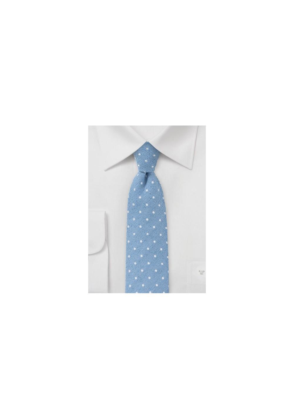 Skinny Polka Dot Tie in Light Blue