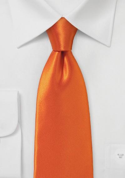 Contemporary Cut Tie in Electric Tangerine