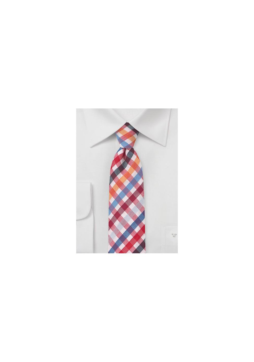 Seersucker Necktie in Red and Blue