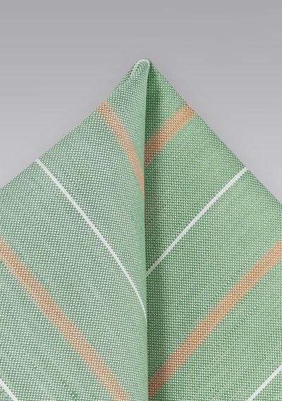 Vintage Striped Pocket Square in Light Green