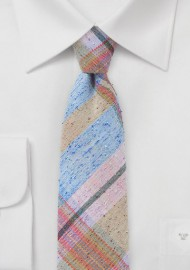 Pink, Blue, Tan Plaid Skinny Tie