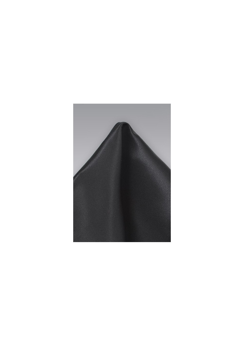 Solid Black Pocket Square in Pure Silk