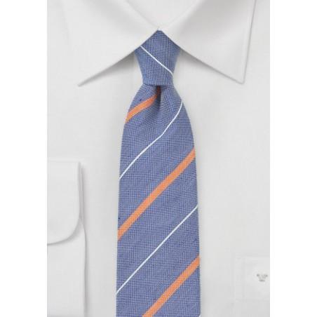 Striped Skinny Tie in Vintage Blues and Oranges