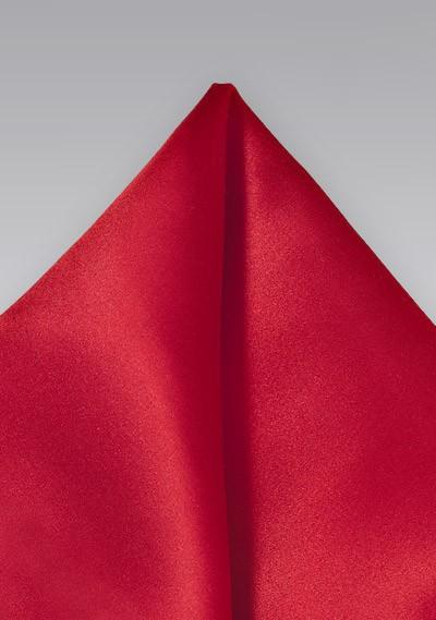 Cherry Red Silk Handkerchief with Satin Finish
