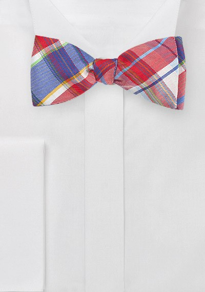 Designer Plaid Bow Tie in Reds and Blues