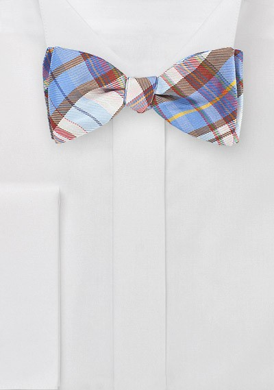 Graphic Plaid Bow Tie in Blues and Browns