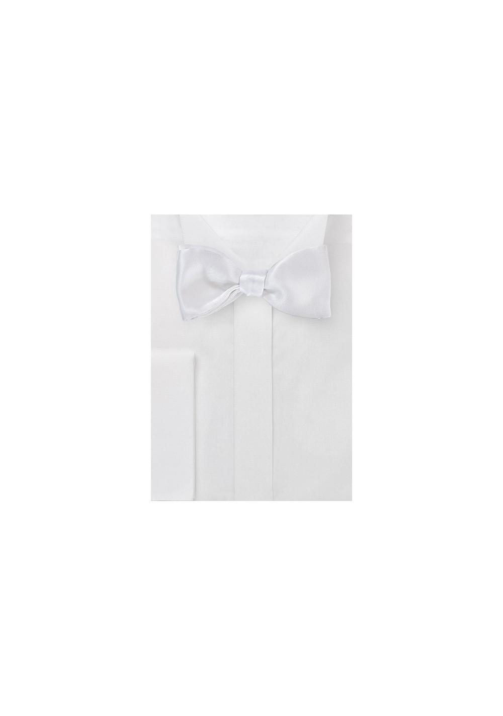 Ice White Self-Tie Bowtie in Pure Silk
