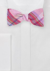 Textured Plaid Bow Tie in Pinks