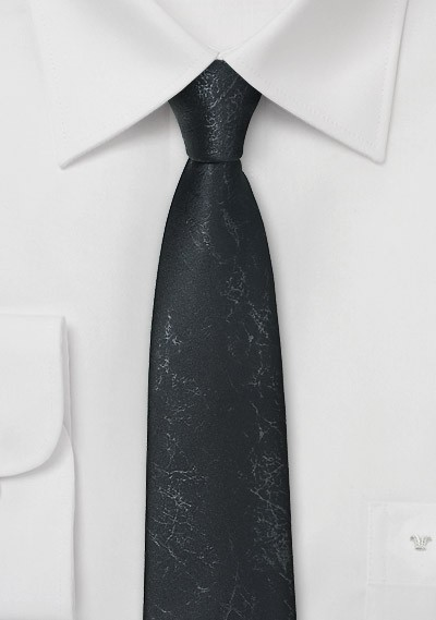 Handmade Black Tie with Worn Leather Look