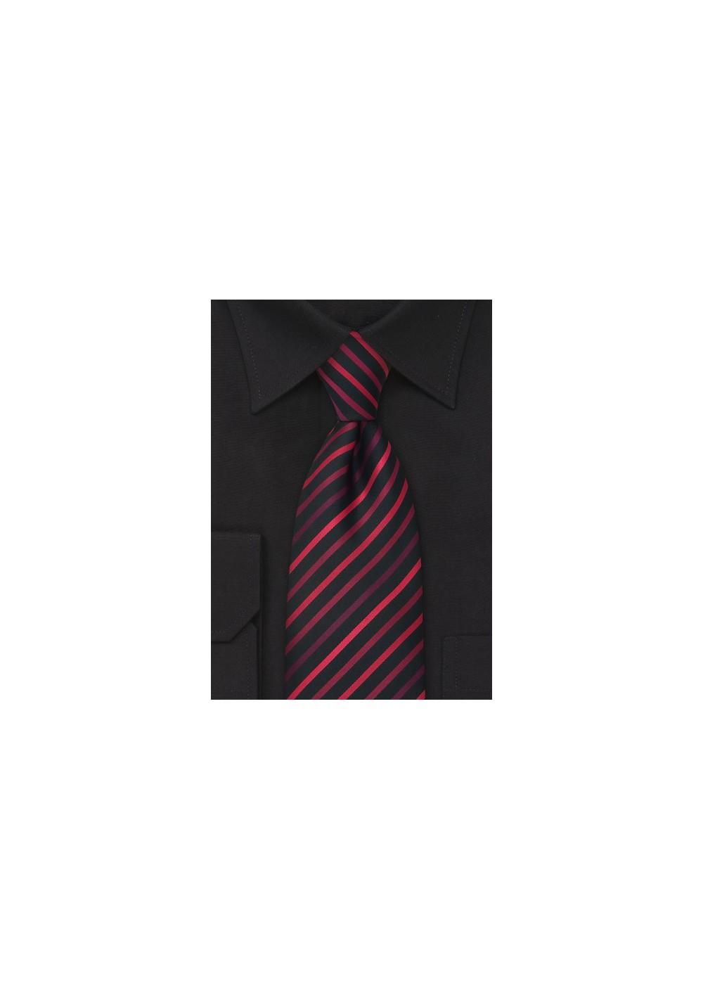 Red and Black Striped Kids Necktie