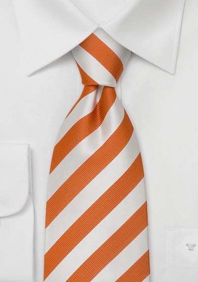 Orange and white striped tie for kids