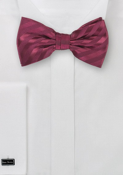 Single Color Burgundy Bow Tie