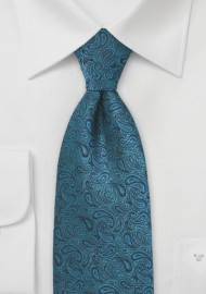 Kids Sized Paisley Tie in Teal and Black