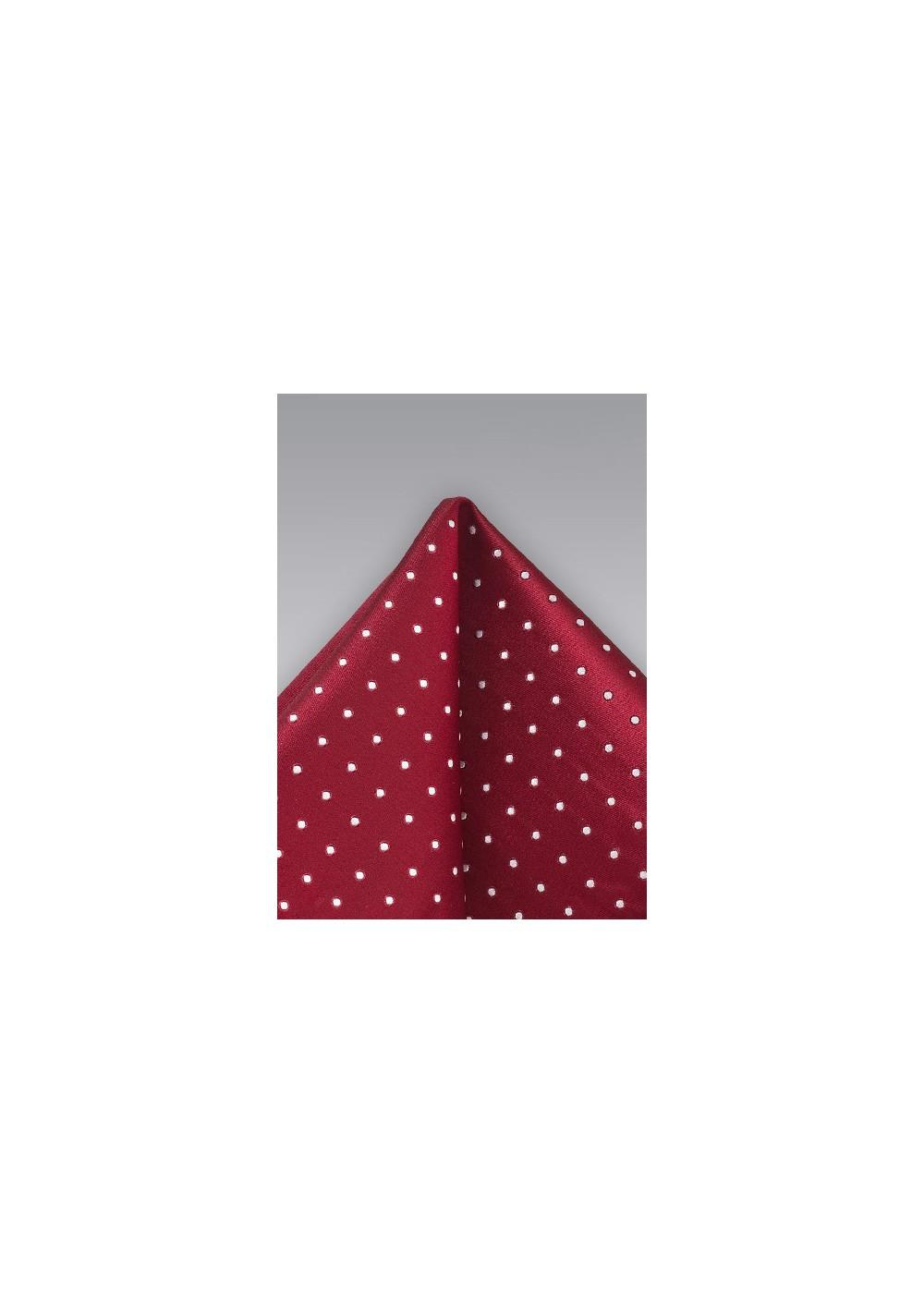 Polka Dot Pocket Square in Cherry Red