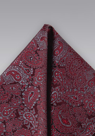 Red and Silver Paisley Pocket Square