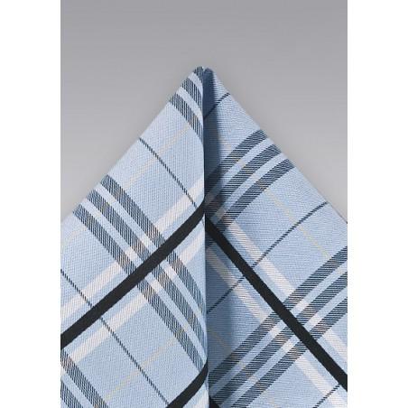 Plaid Pocket Square in Light Blue