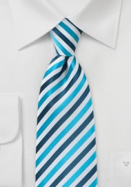Comtemporary Blue Striped Kids Tie