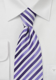 Striped Kids Length Tie in Purples