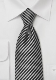 Charcoal and Gray Striped Tie