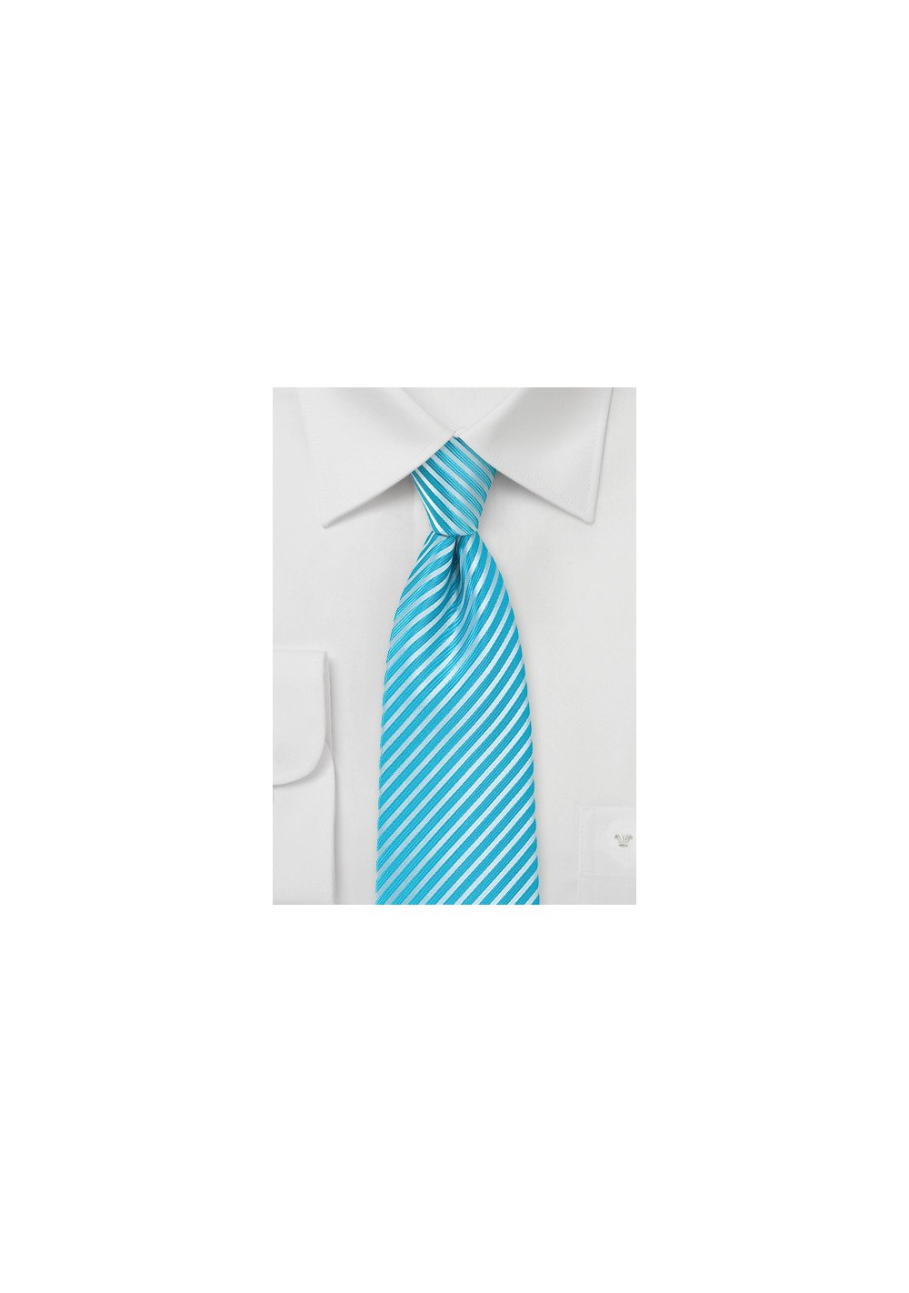 Bright Aqua Striped Necktie