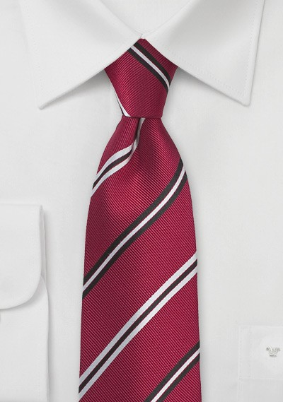 Ruby Red Repp Striped Silk Tie