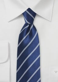 Classic Navy Tie with Double Pin Stripe Design