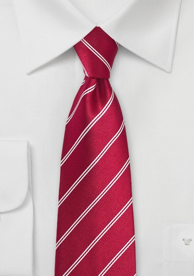 Red Double Pin-Striped Necktie