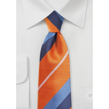 Orange and Blue Necktie with Trendy Stripes