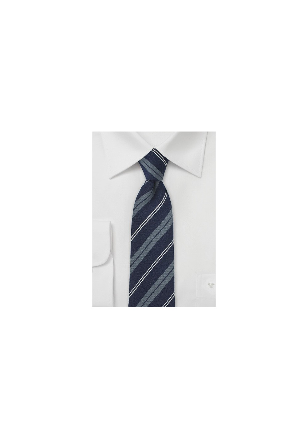 Designer Wool Tie in Navy and Stripes