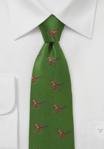 Green Silk Tie with Pheasants