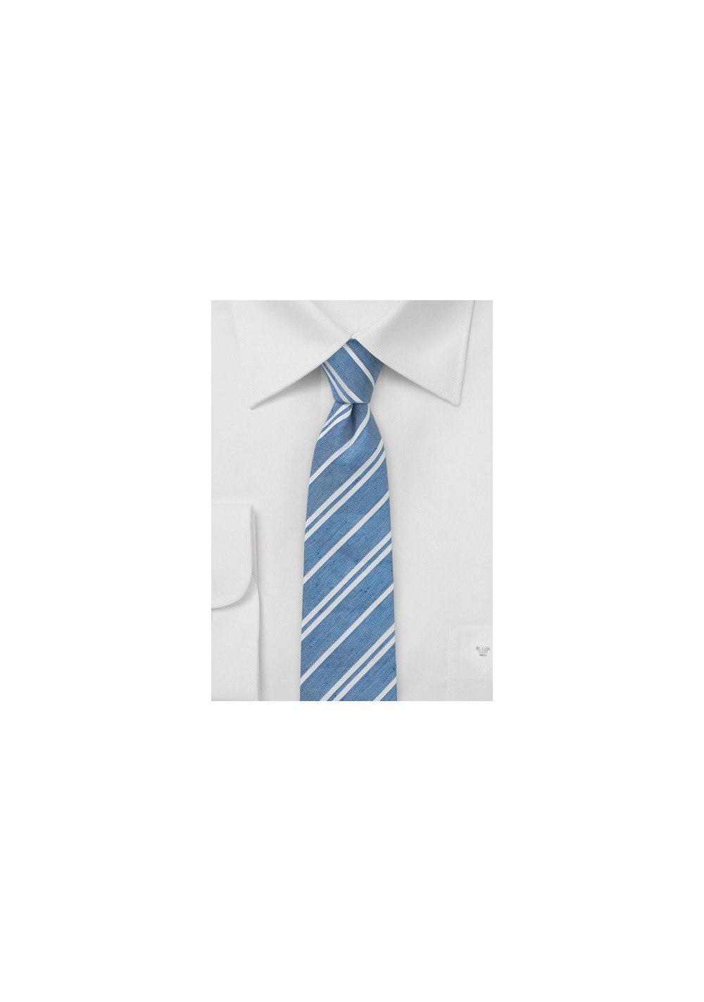 Light Blue Linen Necktie with Stripes