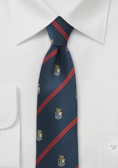 Crested Regimental Skinny Tie