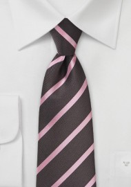 Espresso and Pink Striped Kids Neck Tie