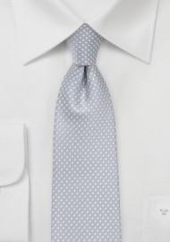 Formal Silver Pin Dot Tie in Skinny Width