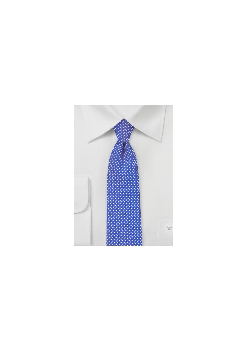 Horizon Blue Pin Dot Tie in Skinny Width