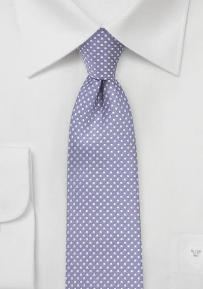 Pin Dot Tie in Lilac Purple in Skinny Cut
