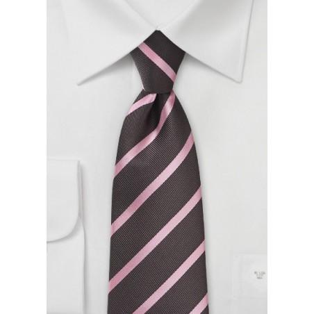 Espresso and Pink Striped Tie in XL