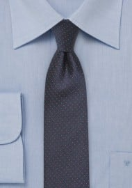 Skinny Navy Tie with Coral Pin Dots