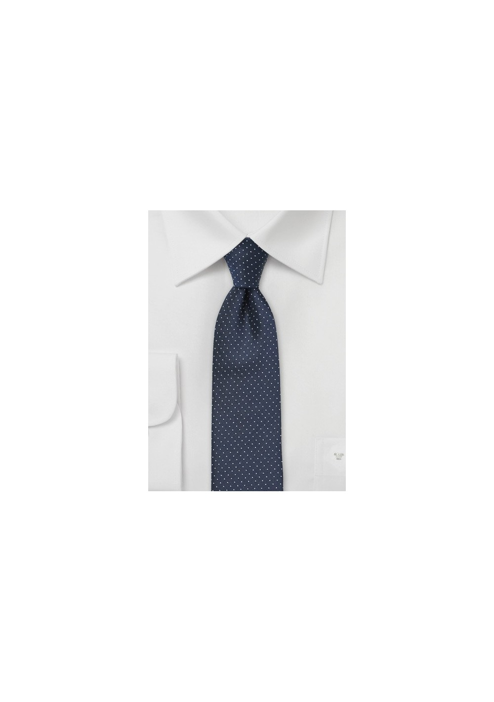 Skinny Tie in Midnight Blue with Silver Dots